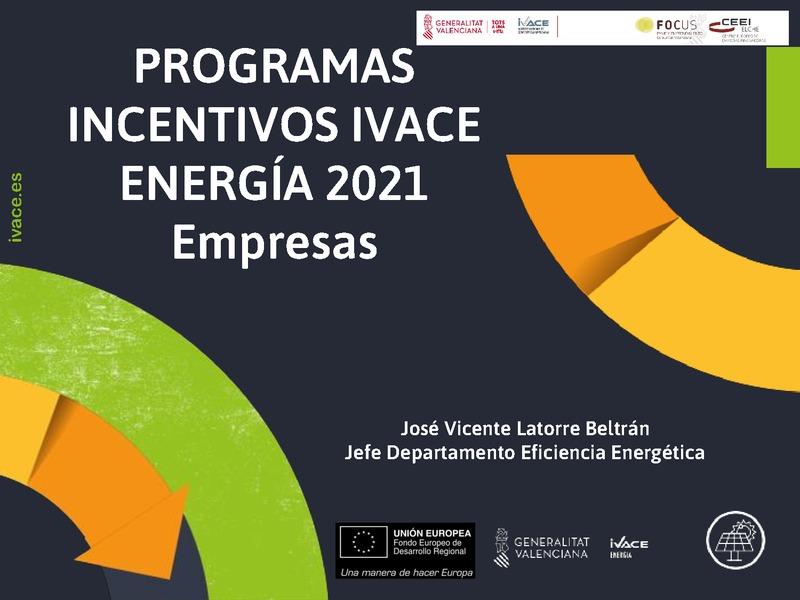 PROGRAMAS INCENTIVOS IVACE ENERGÍA 2021 Empresas