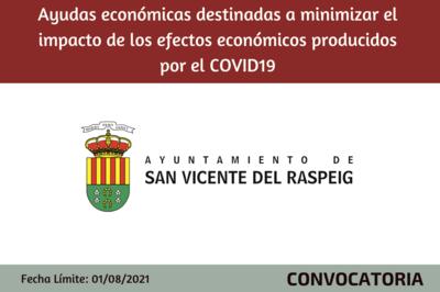 Ayudas económicas destinadas a minimizar el impacto de los efectos económicos producidos por el COVID19 - San Vicente del Raspeig.