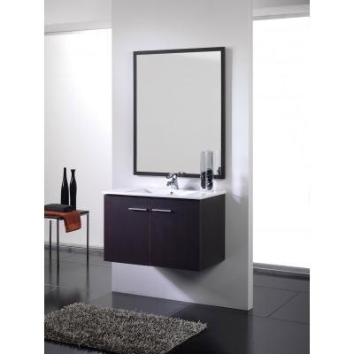 Mueble de baño wengue - 2 puertas - Supendido. Incluye Lavabo (Ref: queen108we)