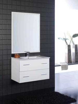 Mueble de baño blanco brillo - 2 cajones - Suspendido. Incluye Lavabo (Ref: queen208bl)