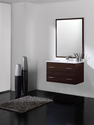 Mueble de baño wengue - 2 cajones - Suspendido. Incluye Lavabo