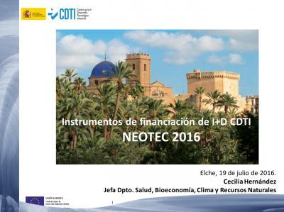 Instrumentos de financiación de I+D CDTI NEOTEC 2016