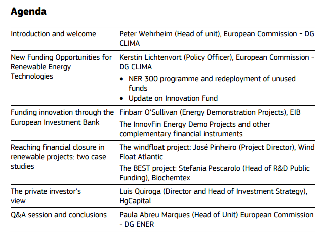 Agenda-European leadership in Renewables