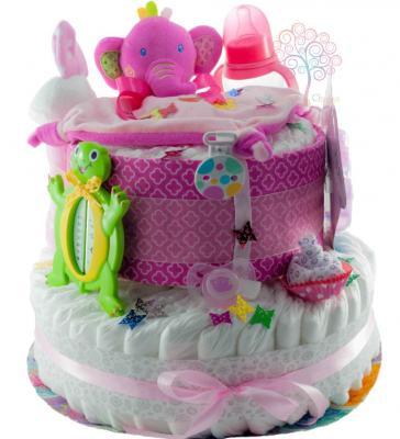 torta de pañales con elefante rosa