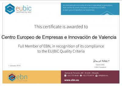 Certificado EU BIC 2019 CEEI Valencia