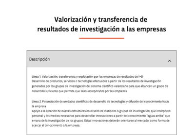 Ayudas en materia de fortalecimiento y desarrollo del Sistema Valenciano de Innovación para la mejora del modelo productivo