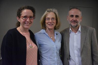 Maribel Acien, izquierda, junto a Nancy Levy de Boston Landing US y su socio  y CTO en 3DST, Miguel Sánchez