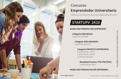 Concurso emprendedor universitario. STARTUPV 2K20
