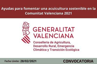 Ayudas para fomentar una acuicultura sostenible en la Comunitat Valenciana 2021