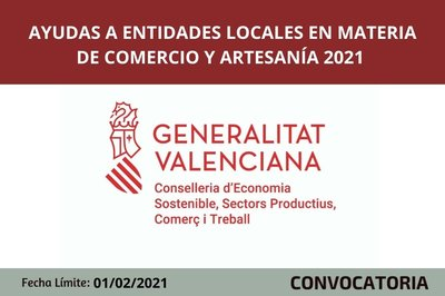 Ayudas a entidades locales en materia de comercio y artesanía para el ejercicio 2021