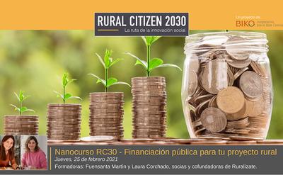 Nanocurso RC30- Financiación pública para tu proyecto rural