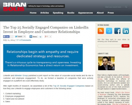 Top Socially Engaged Companies on Invest in Employee and Customer Relationships