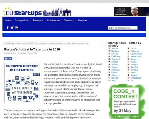 Europe's hottest IoT startups in 2016