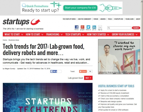 Tech trends for 2017: Lab-grown food, delivery robots and more...